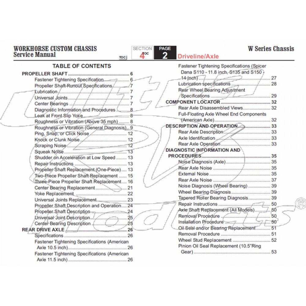 2007 Workhorse W-Series Driveline & Axle Service Manual Download