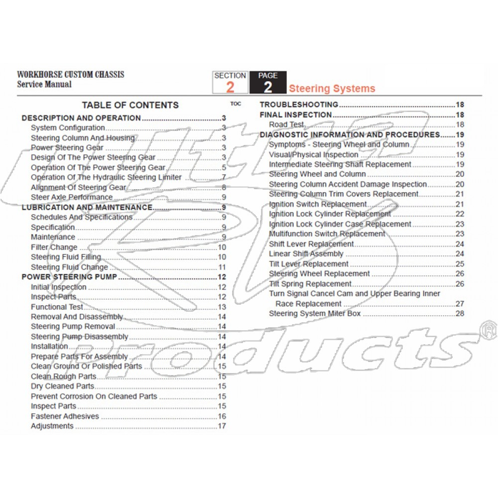 2007-2008 Workhorse R26 UFO Steering Service Manual Download