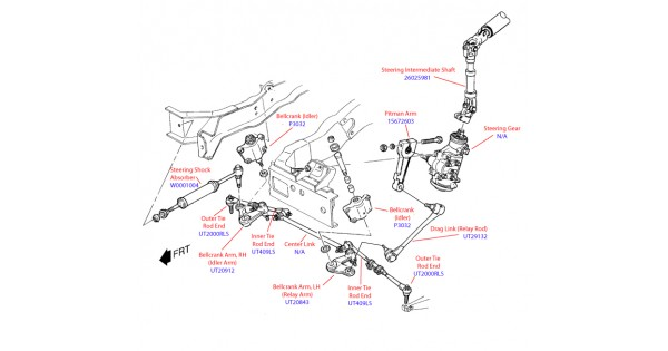 P Front Steering Component Diagram With Part Numbers X
