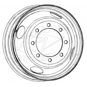 W0000020  -  Wheel Asm - 22.5 X 6.75 Offset 5.7, 8 Hole, Gray