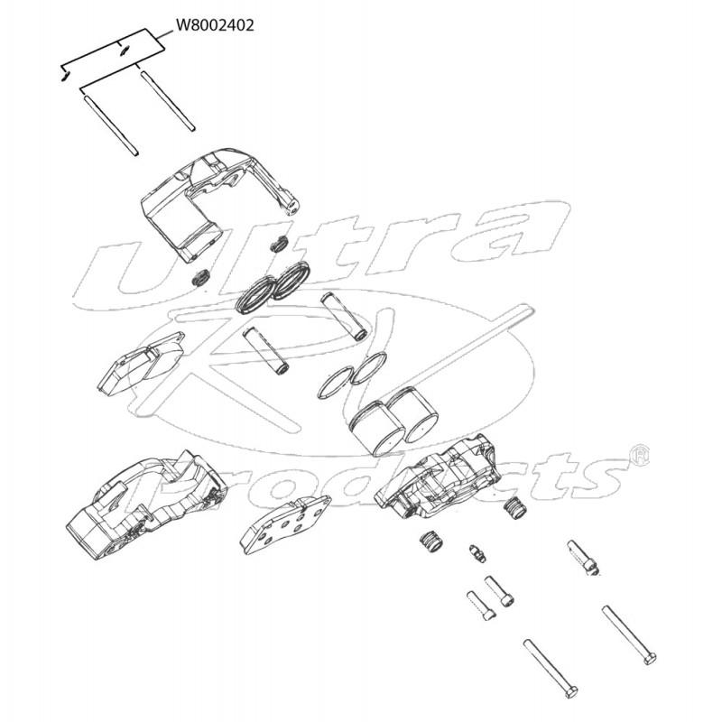 W8002402 - Brake Pad Slide Pin Kit (68mm Brembo, For 2 Calipers)