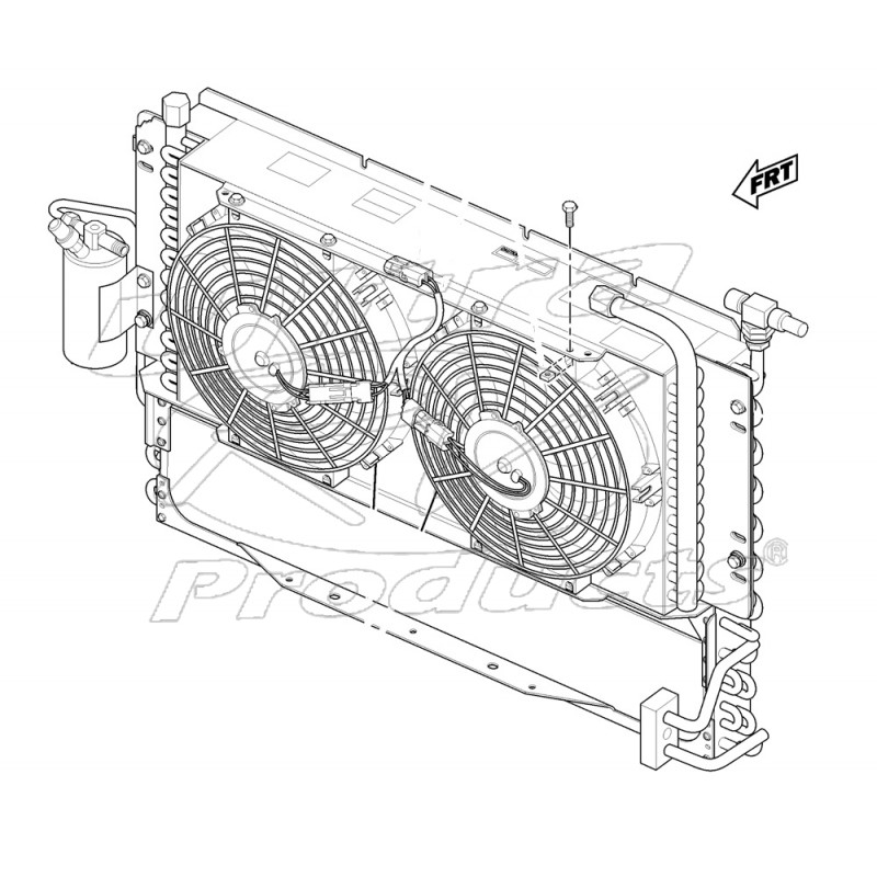 w0006533 - a/c condenser, receiver dryer, twin electric fan & engine/trans  cooler asm - workhorse parts
